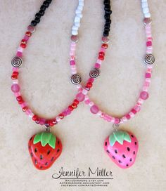 Strawberry Necklace by ArteDiAmore on Etsy, $18.00