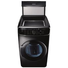 Samsung FlexDry ft Energy Star Certified Electric Dryer (Black Stainless Steel) Energy Star Certified at Lowe's. Samsung's FlexDry™ Dryer provides the ultimate drying flexibility, by combining a conventional large capacity dryer with a delicate dryer, so Stainless Steel Drum, Laundry Solutions, Storage Solutions, Gas Dryer, Apple Homekit, Front Load Washer, Samsung, Sub Brands, Energy Star