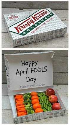 Happy April Fools Day Breakfast idea - fruits and veggies in Krispie Kreme box