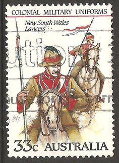 New South Wales Lancers Colonial Military Uniform Stamp Australia Used Lot 50 Postage Stamps, Colonial, 50th, Military, Australia, Baseball Cards, News, South Wales, Vintage