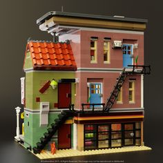 The back of the Doughnut Shop. I'm really glad with how the back of the building turned out. It was quite the challenge balancing the design and detail here. Lego Minecraft, Lego Moc, Minecraft Houses, Lego Lego, Lego Batman, Lego Technic, Instructions Lego, Shop Lego, Doughnut Shop