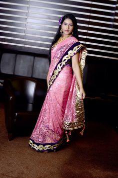 Let's party ....metallic lace purple Velvet saree...