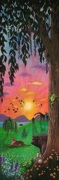 The Sabbath - Day 7 'Creation Mural, (3 x 1 m) by Australian artist Selinah Bull {children's art} http://www.selinahbull.com