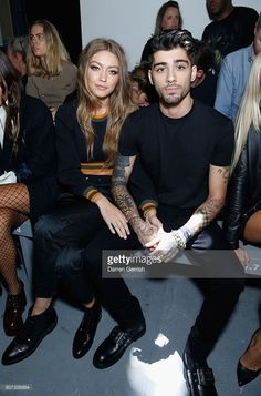 Gigi Hadid and Zayn Malik attend the Versus Versace show during London Fashion Week Spring/Summer collections 2016/2017 on September 17, 2016 in London, United Kingdom.