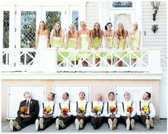 Cute bridesmaid and groomsmen photo op... Except it makes it look like the men are looking up the bridesmaid's short dresses lol