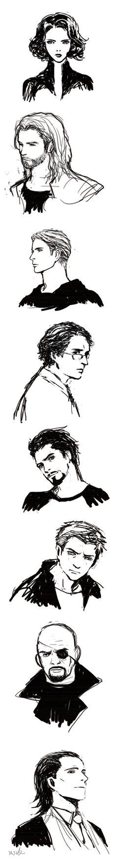 Avengers (Sketch) by mick347.deviantart.com on @deviantART. I love the ones for Thor, Tony, and especially Loki.