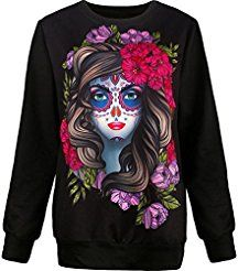 Christmas deals week Pullover TopsMorecome Women Halloween Beauty Skull 3D Print Long Sleeve Sweatshirt