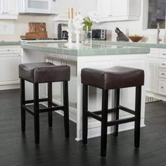 Portman Bonded Leather Backless Bar Stool (Set of by Christopher Knight Home (Brown) Brown Leather Bar Stools, Leather Seats, Backless Bar Stools, Bonded Leather, Living Furniture, Furniture Ideas, Chair And Ottoman, Club Chairs, Bar Chairs