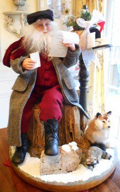 OOAK Santa Art doll scene Original sculpt, by Karen Vander Logt Father Christmas, Country Christmas, Christmas Elf, Vintage Christmas, Christmas Mantles, Christmas Villages, Victorian Christmas, White Christmas, Christmas Ornaments
