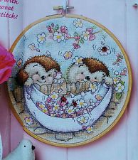 'ED & EDWINA HEDGEHOG COUNTRY COMPANIONS' DESIGN ANCHOR (X50) cross stitch chart