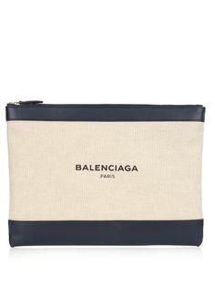 BALENCIAGA Navy Canvas And Leather Pouch. #balenciaga #bags #leather #lining #canvas #pouch #accessories #