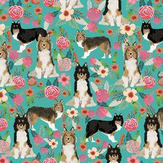 sheltie floral fabric shetland sheepdog fabrics sheltie dog design best vintage florals fabric fabric by petfriendly on Spoonflower - custom fabric