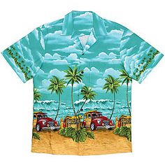 Authentic Hawaiian shirt features blue sky, big waves, surfboards & woody wagons at the beach--all the essentials for a perfect day of surfing!