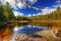 Parc Mauricie, QC  water mirror reflection, trees, clouds