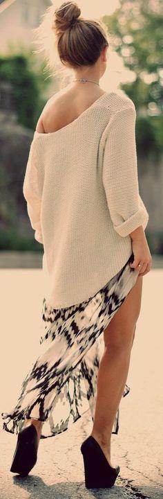 Black And White Printed Flowy Thigh Split Maxi Skirt