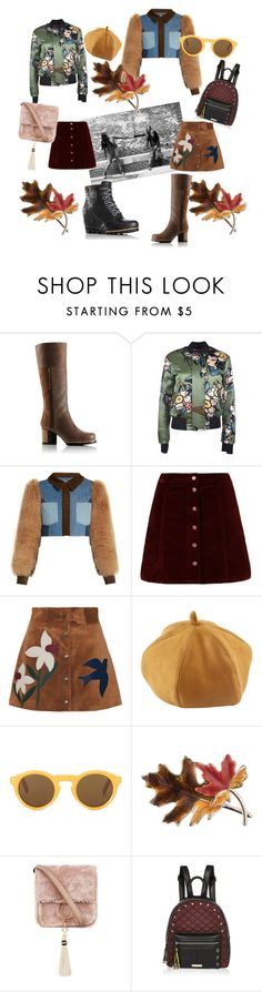 """""""Kick Up the Leaves (Stylishly) With SOREL: CONTEST ENTRY"""" by vivi33a ❤ liked on Polyvore featuring SOREL, Dsquared2, Sonia Rykiel, RED Valentino, CÉLINE, Anne Klein, Brother Vellies, River Island and sorelstyle"""