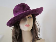 1960s/70s CARAVELLE Purple Wool Felt/Souffle Wide Brim MOD Hipster Hippie Hat ITALY by petgirlvintage on Etsy https://www.etsy.com/listing/169227165/1960s70s-caravelle-purple-wool