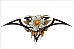 Tribal and flower lowerback tattoo design , lower back tattoos, designs &am Tribal Flower Tattoos, Flower Tattoo Arm, Flower Tattoo Shoulder, Flower Tattoo Designs, Leg Tattoos, Small Tattoos, Sleeve Tattoos, Tattoos For Guys, Tatoos