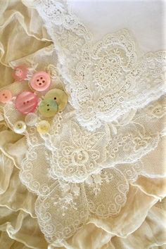 Lace and Buttons ... i am lucky to have her button can and her hassock with her lace ~☆~