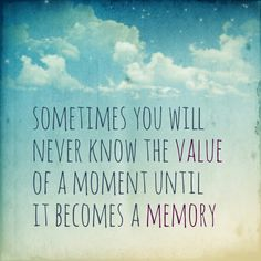 Sometimes you will never know the value of a moment until it becomes a memory. ~Dr Seuss