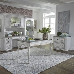 The Magnolia Manor Collection by Liberty Furniture offers gorgeous antiqued styled group that will bring charming aura into any decor! The furniture is made of Poplar Solids and Birch Veneers in Antique White Finish with White Oak Veneer Tops. Side Table With Storage, Table Storage, Rustic Home Offices, Home Panel, Parker House, Liberty Furniture, Counter Height Dining Sets, Chair Side Table, Office Set