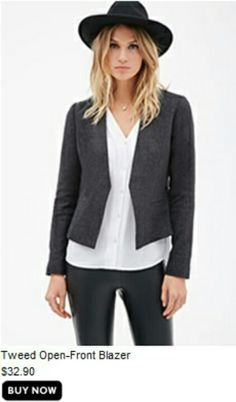 F21 Tweed Open-Front Blazer