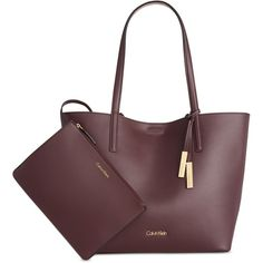 Calvin Klein Leather Reversible Tote with Pouch ( 198) ❤ liked on Polyvore  featuring bags. Carteras Y BolsosBolsos ... ee8c674b18c