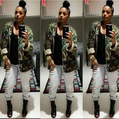 Rasheeda damaged jeans, heels, camo jacket
