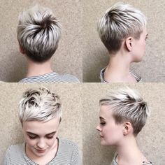 Short Pixie Haircuts for Pretty Look. Pixie hairstyles are the most popular options women try.Pixie hair is suitable for both young and old ladies. Choppy Pixie Cut, Edgy Pixie Cuts, Best Pixie Cuts, Short Pixie Haircuts, Pixie Hairstyles, Short Hair Cuts For Women Edgy, Edgy Pixie Hair, Short Blonde Pixie, Asymmetrical Pixie