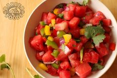Watermelon Pico De Gallo - Slightly adapted from #ThePioneerWoman - 1/2 seedless watermelon 1 small red onion 1 yellow bell pepper 1 green bell pepper 1 red bell pepper 2 jalapenos 2 limes (juice) Cilantro, to taste. Salt, to taste. Cut up watermelon, onion, bell peppers, jalapenos and add to bowl. Add the juice of two limes, cilantro and salt. Stir together. Add more cilantro and salt if needed. #barberfoods #food #recipe #yum #watermelon