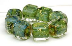 Handmade Lampwork Bead Set Blue Green Cubes