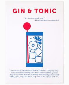 """Crispin Finn Gin & Tonic Screen Print: One in a series of twelve screen prints depicting some of the most iconic and celebrated cocktails ever created, this print has the signature red white and blue colours associated with the design work of Crispin Finn. A two colour open edition hand pulled screen print on Matrisse 250gsm paper, this Gin and Tonic print also includes a brief history and unique design by Crispin Finn of this quintessential thirst quencher and features the quote """"Are we at…"""