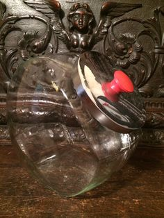 Vintage Glass Cookie/Candy Jar Extra Large With Metal Lid and Red Pull by MidCenturyAmericana on Etsy