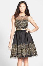 Eliza J Embroidered Mesh Fit & Flare Dress