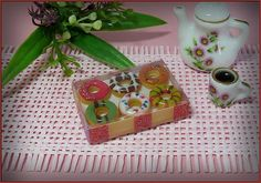 Dollhouse miniature donuts in a box boxed by DidisMiniature