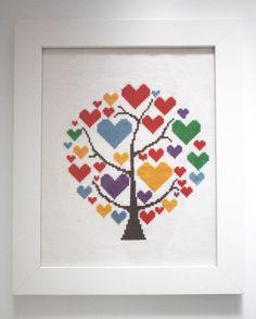 Heart Tree Cross Stitch https://carmelkarmablog.wordpress.com austrian blogger modern cool cross stitch patterns FREE #etsy #fcrossstitch #free pattern #diy #crafts