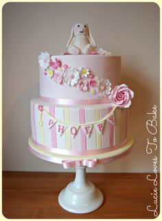 Cute christening cake for a little girl in pastel shades and adorable bunny topper. Handmade by #lucielovestobake
