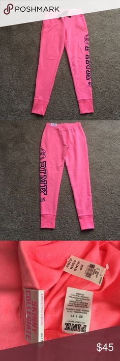 VS PINK joggers VS PINK bright neon pink skinny collegiate joggers w/bright navy PINK logo on left leg and drawstring. Front pockets. Super soft! Size XS. NWT, no flaws, never worn. NOT trading but thank you. Offers thru offer button only. Please ask any questions prior to purchasing. Thank you! PINK Victoria's Secret Pants Track Pants & Joggers