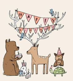 "Happy Birthday from the Woodland Creatures | 12"" x 12"" print on archival paper. 