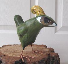 Paper Mache - Art Sculpture - Tyson - A Big Eyed Bird. $52.00, via Etsy.