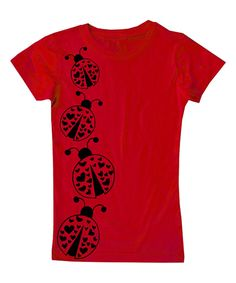 Look what I found on #zulily! Micro Me   Red Ladybugs Fitted Tee - Toddler & Girls by Micro Me #zulilyfinds