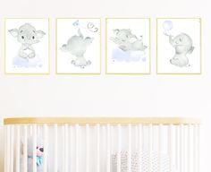 Gray Blue Elephant Wall Decor, Canvas Print Stickers Decor Children Art Baby Boy Room Decor Baby Boy Nursery Kids Art set of 4