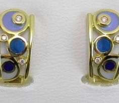 EARRINGS : yellow gold, 6 diamonds 0,11 ct. and enamels. size: 19 x 10  mm. 05MA0070