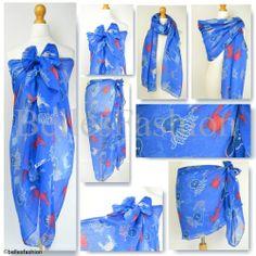 Crab & Octopus Sea/Ocean Print Sarong/Wrap/Kaftan/Holiday/Cover-up/Beach/Pool UK