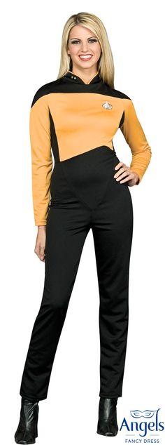 The Star Trek Operations Jumpsuit Gold, The Next Generation, costume includes a one-piece jumpsuit with metal Communicator pin and a pack of collar pips (ranking chart included!) http://www.fancydress.com/costumes/Star-Trek-Operations-Jumpsuit-Gold/0~858668