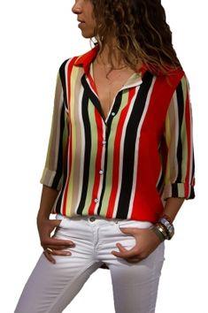 Chiffon Blouse Women Long Sleeve Striped Shirt Turn Down Collar Office Shirt Casual Tops Blusas Femininas Chemise Plus Size Top Chic, Striped Long Sleeve Shirt, Plus Size Blouses, Looks Cool, Casual Tops, Shirt Blouses, Blouses For Women, Cheap Blouses, Colorful Shirts