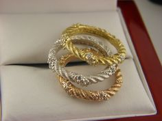 JUDITH  RIPKA STERLING SILVER AND CUBIC ZIRCONIA CABLE TRIO BAND RINGS SZ 5 #JudithRipka #Band