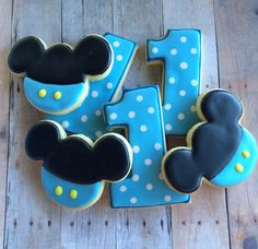 Baby Mickey Cookies~                by LaPetiteCookie, $33.00, blue, polka dot, mouse ears, number