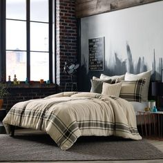 Bring fashion forward style to your bedroom with the handsome Studio by Kyle Schuneman Harris Duvet Cover Set. Inspired by livable menswear, the sophisticated bedding features a simple grey stripe framing on a soft off-white base. College Comforter, Twin Comforter Sets, King Duvet Cover Sets, Bed Duvet Covers, Dorm Bedding, King Comforter, Queen Duvet, Main Image, Toddler Girl Bedding Sets