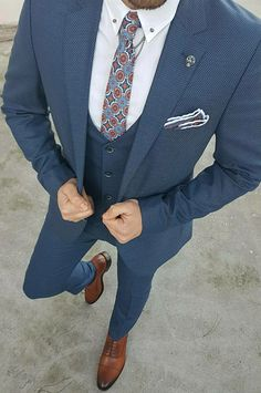 Blue Three piece suit for men Mens Fashion Suits, Mens Suits, Womens Fashion, Latest Fashion, Fashion Beauty, Three Piece Suit For Man, Suit Combinations, Only Shirt, Designer Suits For Men